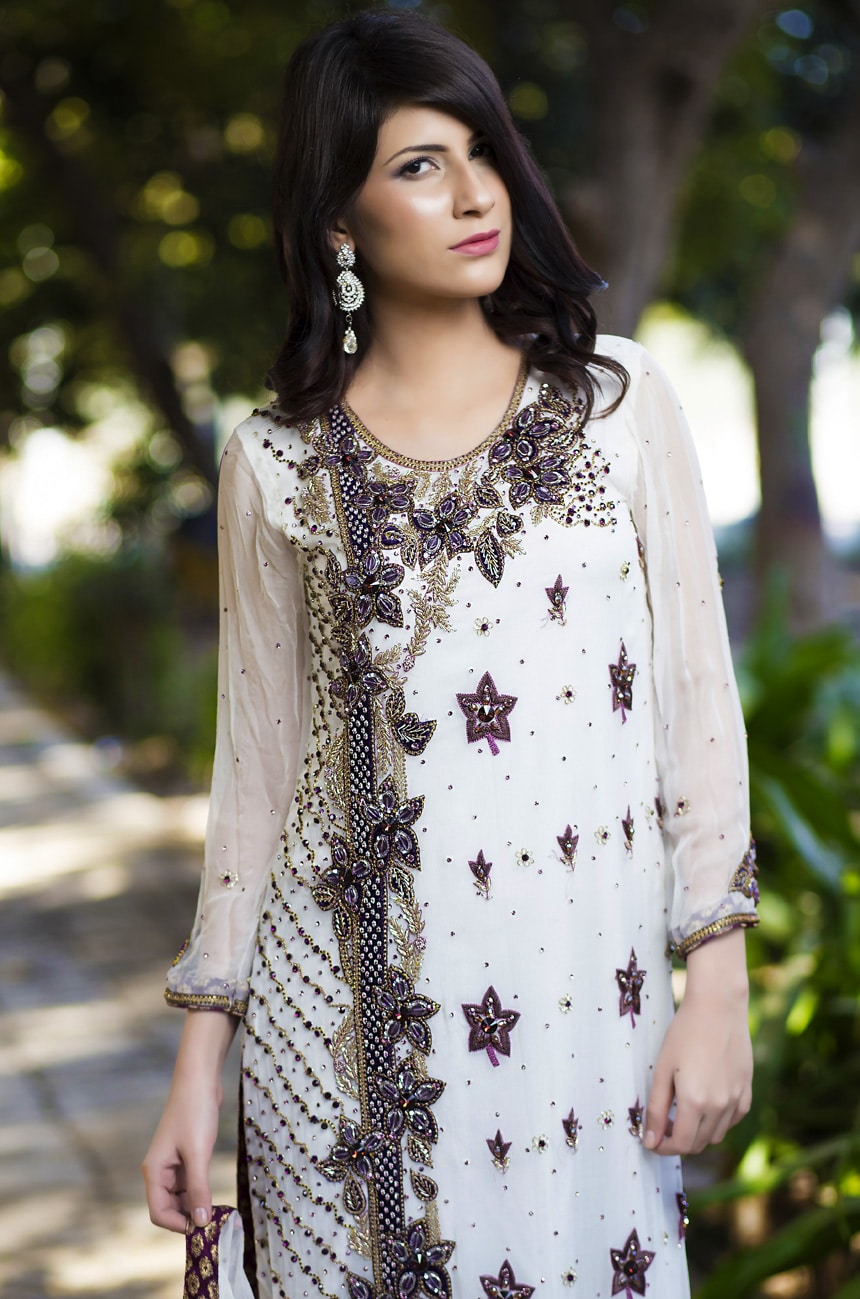 White Elegant Hand Embroidered Party