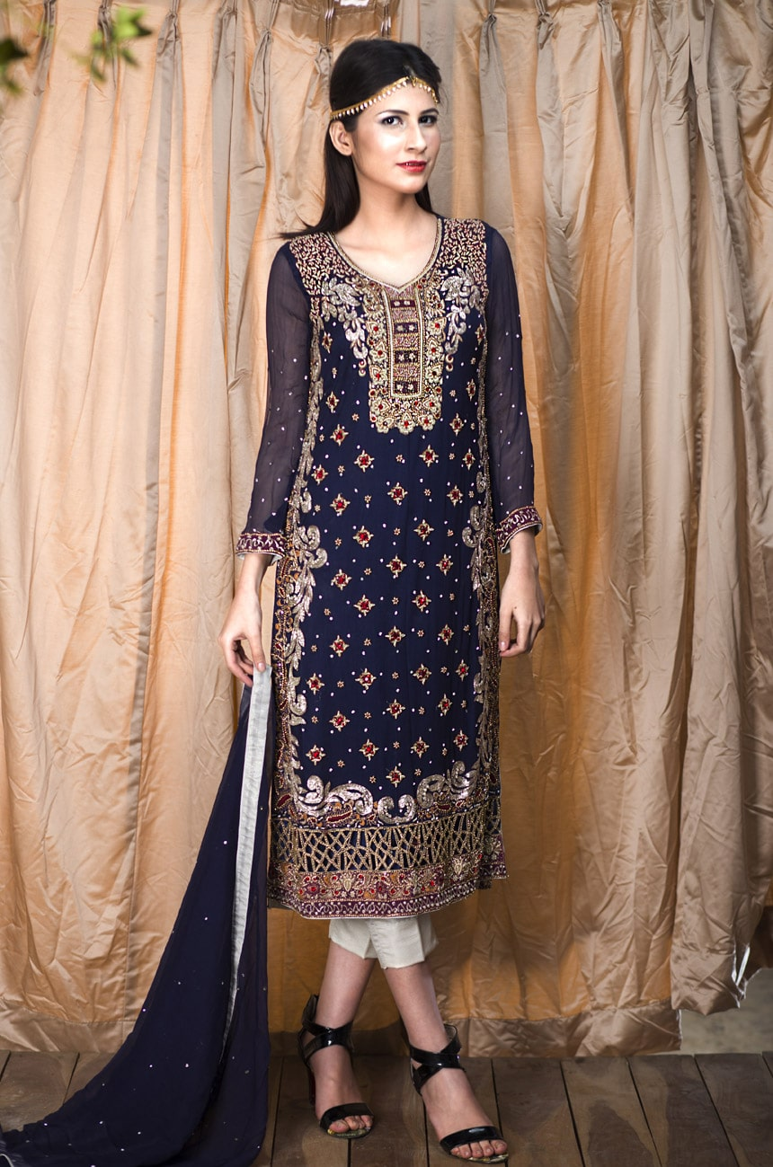 blue pakistani wedding dress