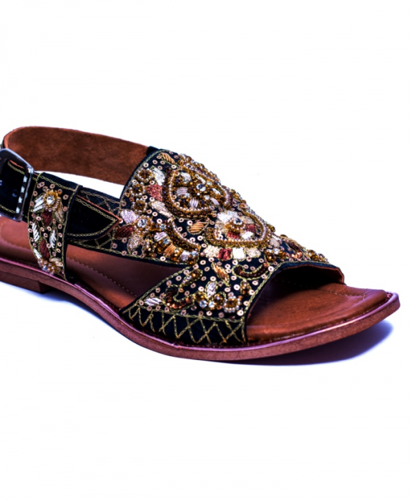Black Embroidered Sandal