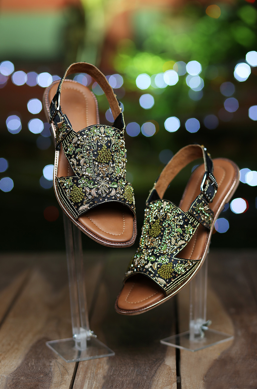 Dark Green Flat Sandal