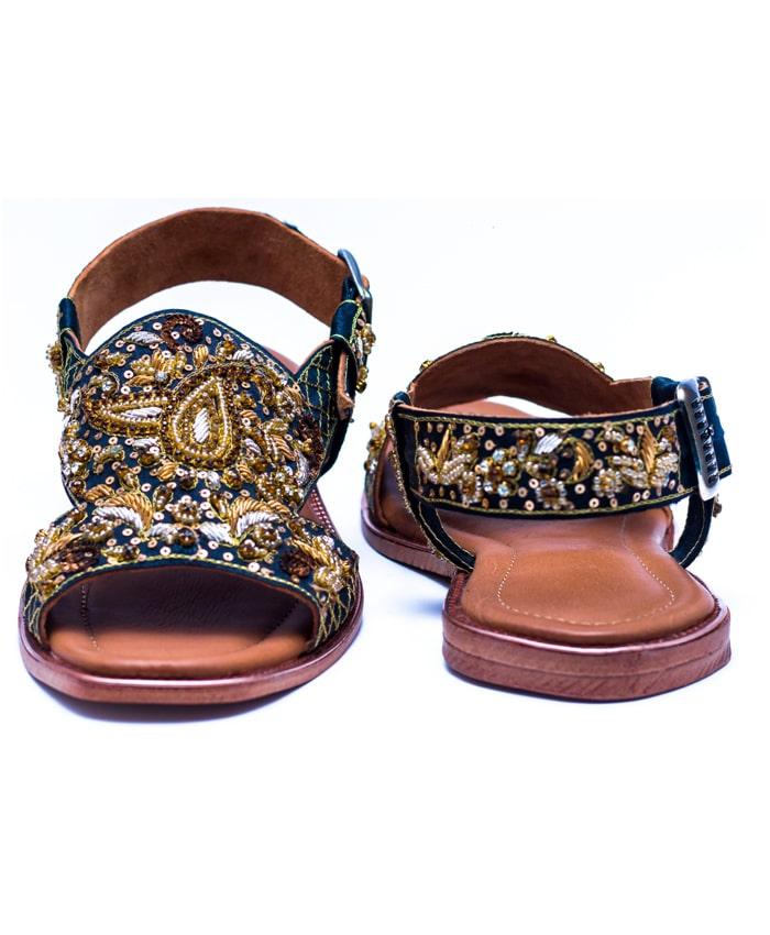 Black Embroidered Sandal