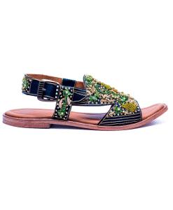 Dark Green Flat Sandal